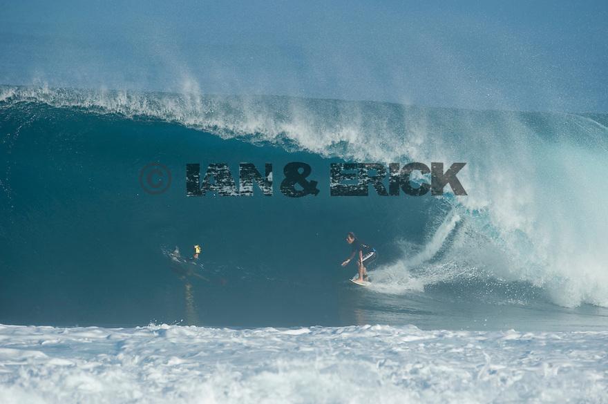 Unknown Surfer (JPN) at Backdoor on the Northshore of Oahu in Hawaii.