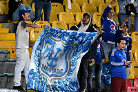 BOGOTÁ-COLOMBIA, 07–04-2019: Hinchas de Millonarios animan a su equipo durante partido de la fecha 14 entre Millonarios y Cúcuta Deportivo, por la Liga Águila I 2019, jugado en el estadio Nemesio Camacho El Campín de la ciudad de Bogotá. / Fans of Millonarios cheer for their team during a match of the 14th date between Millonarios and Cucuta Deportivo, for the Aguila Leguaje I 2019 played at the Nemesio Camacho El Campin Stadium in Bogota city, Photo: VizzorImage / Luis Ramírez / Staff.