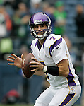Minnesota Vikings quarterback Christian Ponder warms up before their game against the Seattle Seahawks at CenturyLink Field in Seattle, Washington on  November 4, 2012.  Ponder completed 11 of 22 passes for 64 yards, was sacked four times and  had one pass intercepted in the Vikings 20-30 loss to the Seahawks.   ©2012. Jim Bryant Photo. All Rights Reserved.