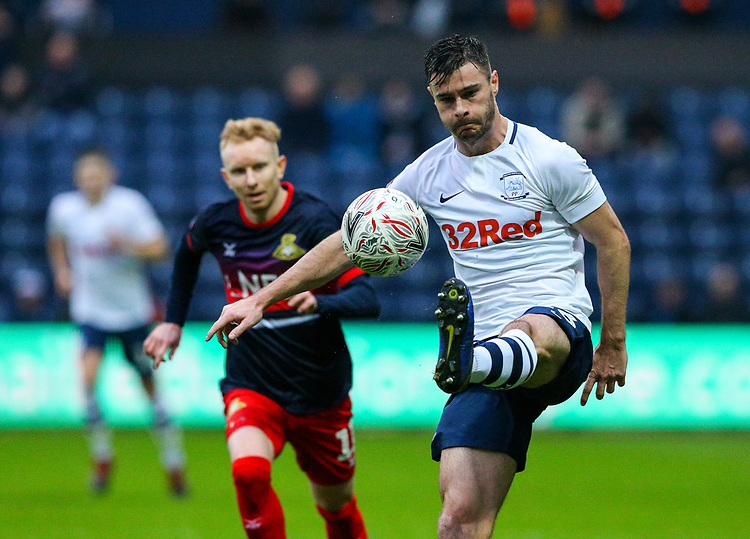 Preston North End's Andrew Hughes controls the ball<br /> <br /> Photographer Alex Dodd/CameraSport<br /> <br /> The Emirates FA Cup Third Round - Preston North End v Doncaster Rovers - Sunday 6th January 2019 - Deepdale Stadium - Preston<br />  <br /> World Copyright &copy; 2019 CameraSport. All rights reserved. 43 Linden Ave. Countesthorpe. Leicester. England. LE8 5PG - Tel: +44 (0) 116 277 4147 - admin@camerasport.com - www.camerasport.com