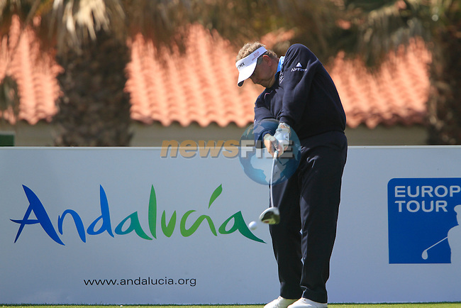Colin Montgomerie (SCO) in action on the 1st tee during Day 1 Thursday of the Open de Andalucia de Golf at Parador Golf Club Malaga 24th March 2011. (Photo Eoin Clarke/Golffile 2011)