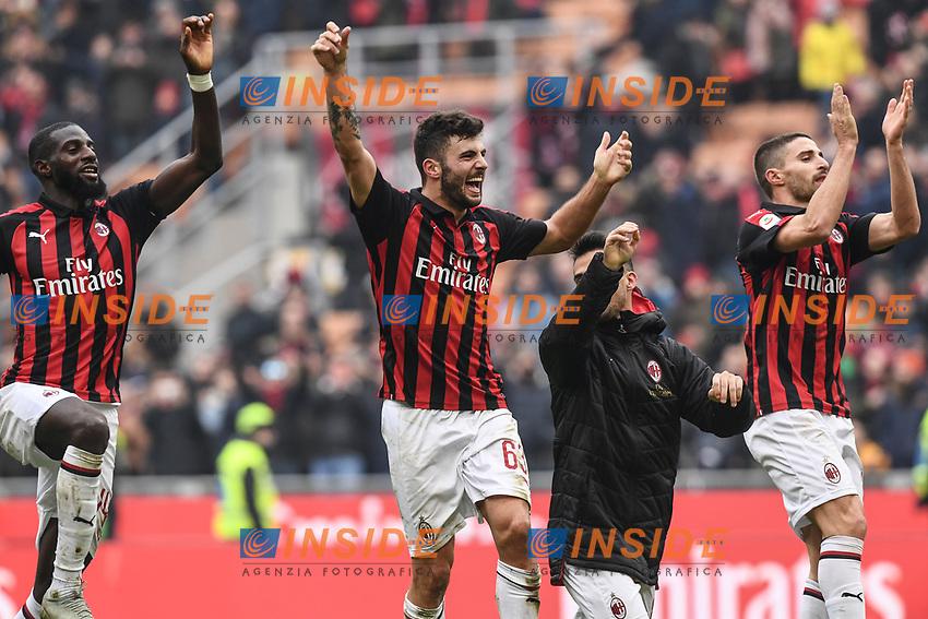 esultanza a fine gara Milan. Celebration at the end of the match <br /> Milano 2-12-2018 Stadio San Siro Football Calcio Serie A 2018/2019 AC Milan - Parma Foto Image Sport / Insidefoto