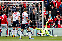 Bolton Wanderers' goalkeeper Remi Matthews is beaten by Nottingham Forest's Joe Lolley (not shown) for the opening goal<br /> <br /> Photographer Andrew Kearns/CameraSport<br /> <br /> The EFL Sky Bet Championship - Nottingham Forest v Bolton Wanderers - Sunday 5th May 2019 - The City Ground - Nottingham<br /> <br /> World Copyright © 2019 CameraSport. All rights reserved. 43 Linden Ave. Countesthorpe. Leicester. England. LE8 5PG - Tel: +44 (0) 116 277 4147 - admin@camerasport.com - www.camerasport.com