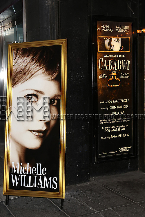 Theatre Marquee fort the Broadway Opening Night Performance of 'Cabaret' at Studio 54 on April 24, 2014 in New York City.