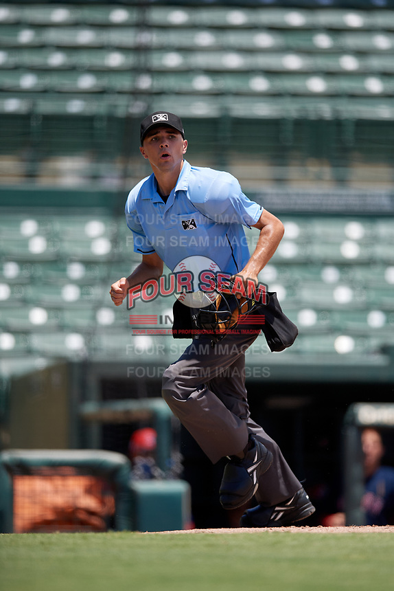 Umpire Kaleb Martin during a Gulf Coast League game between the GCL Red Sox and GCL Orioles on July 29, 2019 at Ed Smith Stadium in Sarasota, Florida.  GCL Red Sox defeated the GCL Pirates 9-1.  (Mike Janes/Four Seam Images)