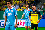 09.08.2019, Merkur Spiel-Arena, Düsseldorf, GER, DFB Pokal, 1. Hauptrunde, KFC Uerdingen vs Borussia Dortmund , DFB REGULATIONS PROHIBIT ANY USE OF PHOTOGRAPHS AS IMAGE SEQUENCES AND/OR QUASI-VIDEO<br /> <br /> im Bild | picture shows:<br /> Kevin Grosskreutz (KFC Uerdingen #6) mit  Paco Alcacer (Borussia Dortmund #9) im Strafraum, <br /> <br /> Foto © nordphoto / Rauch