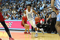 CHAPEL HILL, NC - NOVEMBER 01: Christian Keeling #55 of the University of North Carolina dribbles the ball during a game between Winston-Salem State University and University of North Carolina at Dean E. Smith Center on November 01, 2019 in Chapel Hill, North Carolina.
