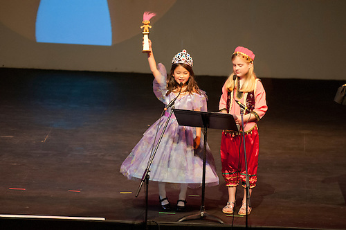 The Harker School - LS - Lower School - Annual Ogre Awards, hosted by LS Librarian Enid Davis, who was Hosting for her final time before her retirement this year...2012-03-22...Photo by Kyle Cavallaro