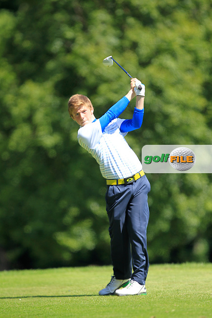 Ryan Thompson (Greenacres) on the 7th tee during Round 2 of the Ulster Boys' Amateur Open Championship in Clandeboye Golf Club on Wednesday 9th July 2014.<br /> Picture:  Thos Caffrey / www.golffile.ie