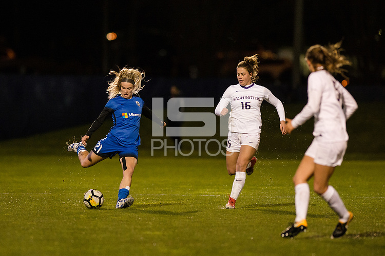 Seattle, WA - Thursday, March, 08, 2018: Christen Westphal during a preseason match between the Seattle Reign FC and University of Washington at Husky Soccer Stadium.