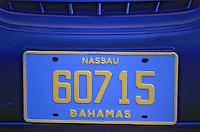Iles Bahamas / New Providence et Paradise Island / Nassau: Plaque d'immatriculation d'une voiture