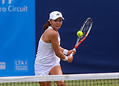 June 13th 2017, The Northern Lawn tennis Club, Manchester, England; ITF Womens tennis tournament; Number 8 seed Su Jeong Jang (KOR) plays a backhand during her first round singles match against Arina Rodionova (AUS); Rodionova won in three sets