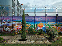 A garden in Bois-d'Arcy prison. Opened in 1980, it houses 770 inmates of whom 215 are on remand.