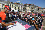 Vincenzo Nibali (ITA) Bahrain-Merida at sign on before the start of Stage 12 of the 2019 Giro d'Italia, running 158km from Cuneo to Pinerolo, Italy. 23rd May 2019<br /> Picture: Gian Mattia D'Alberto/LaPresse | Cyclefile<br /> <br /> All photos usage must carry mandatory copyright credit (© Cyclefile | Gian Mattia D'Alberto/LaPresse)