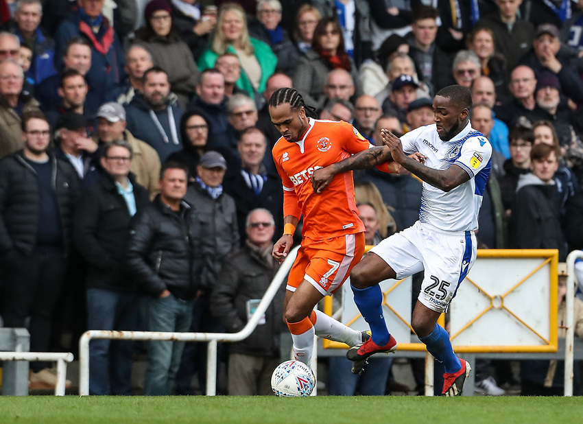 Blackpool's Nathan Delfouneso competing with Bristol Rovers' Abu Ogogo <br /> <br /> Photographer Andrew Kearns/CameraSport<br /> <br /> The EFL Sky Bet League Two - Bristol Rovers v Blackpool - Saturday 2nd March 2019 - Memorial Stadium - Bristol<br /> <br /> World Copyright © 2019 CameraSport. All rights reserved. 43 Linden Ave. Countesthorpe. Leicester. England. LE8 5PG - Tel: +44 (0) 116 277 4147 - admin@camerasport.com - www.camerasport.com
