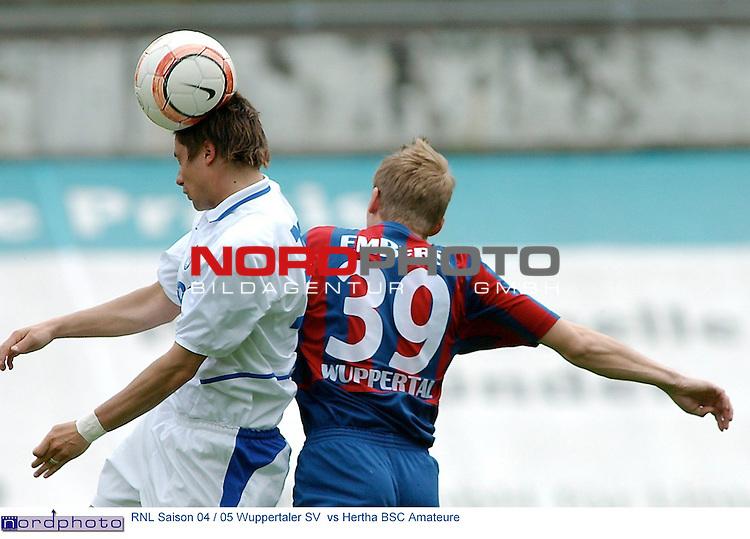 RLN Saison 2004/2005 <br /> 33.Spieltag<br /> Rueckrunde<br />  Wuppertaler SV  vs  Hertha BSC Amateure  2 : 1<br /> <br /> Daniel Embers vom Wuppertaler SV im Kopfballduell gegen <br /> Sofian Chahed  von  Hertha BSC Amateure<br /> <br /> Foto &copy; nordphoto <br /> <br />  *** Local Caption *** Foto ist honorarpflichtig! zzgl. gesetzl. MwSt.<br />  Belegexemplar erforderlich<br /> Adresse: nordphoto<br /> Georg-Reinke-Strasse 1<br /> 49377 Vechta