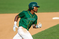 Beloit Snappers outfielder JaVon Shelby (5) rounds the bases following a home run during a Midwest League game against the Peoria Chiefs on April 15, 2017 at Pohlman Field in Beloit, Wisconsin.  Beloit defeated Peoria 12-0. (Brad Krause/Four Seam Images)