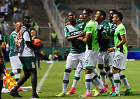 PALMIRA -COLOMBIA-14-06-2017. German Mera (Izq) jugador del Deportivo Cali celebra después de anotar un gol a Atlético Nacional durante partido de ida por la final de la Liga Aguila I 2017 jugado en el estadio Palmaseca de la ciudad de Palmira. / German Mera (R) player of Deportivo Cali celebrates after scoring a goal to Envigado FC during first leg match for the final of the Aguila League I 2017 played at Palmaseca stadium in Palmira city.  Photo: VizzorImage/ Nelson Rios /Cont