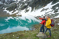 Tiroler Oberland, Tyrol, Austria, June 2009. Hikers enjoy the view over a glacial lake just off the Kauntertaler gletscher road. The Region of the Tyrolian Highlands offer many different options for outdoor adventures, leisure and relaxing. Photo by Frits Meyst/Adventure4ever.com