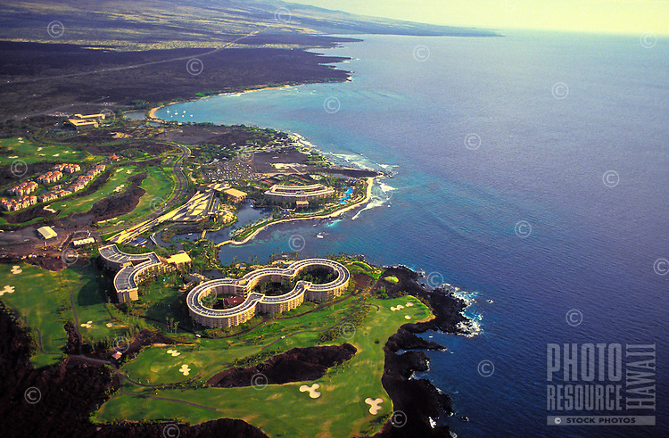 Aerial view of the Hilton Hawaiian Village found on the Kona Coast of the Big Island