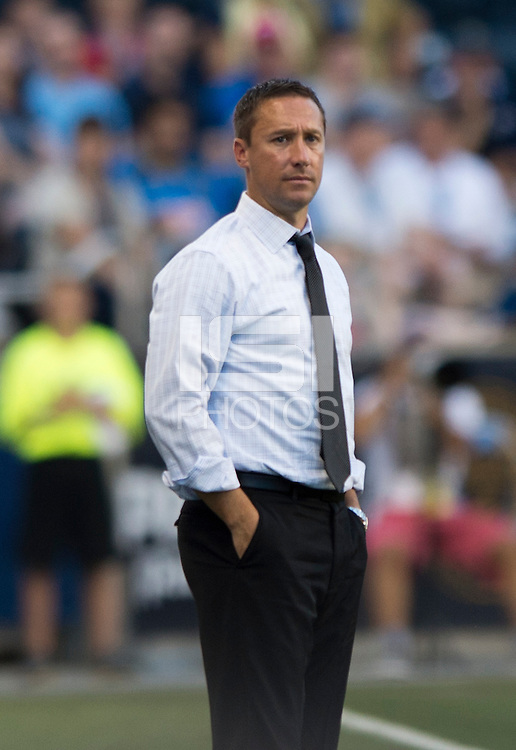 Portland Timbers head coach Caleb Porter watches his team during a Major League Soccer game at PPL Park in Chester, PA.  Philadelphia Union tied the Portland Timbers, 0-0.