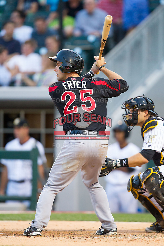 Eric Fryer (25) of the Rochester Red Wings at bat against the Charlotte Knights at BB&T Ballpark on June 5, 2014 in Charlotte, North Carolina.  The Knights defeated the Red Wings 7-6.  (Brian Westerholt/Four Seam Images)