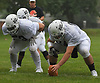 Greg Amato #64, Floyd center, right, gets ready to snap during football practice at Hofstra University on Sunday, June 18, 2017. Team Long Island will face its New York City counterpart in the 22nd annual Empire Challenge at Hofstra on Wednesday, June 21 at 7:00PM.