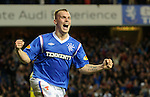 Gregg Wylde celebrates scoring Rangers second goal