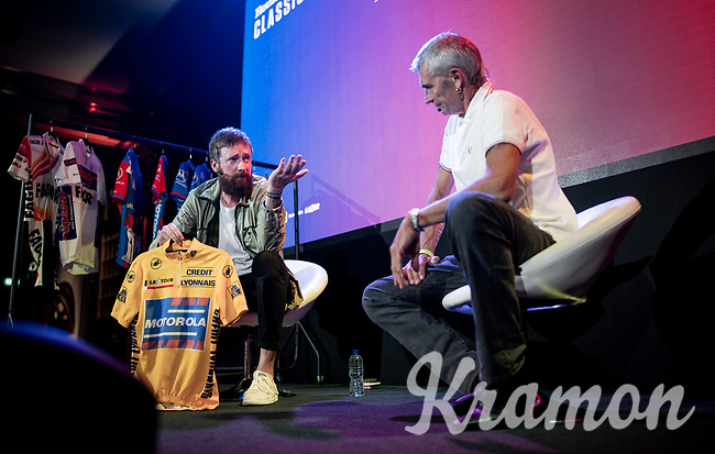 """Sir Bradley Wiggins showing some memorabilia of his vast historical cycling collection & bringing a breef version of his theatre show to the stage in London by letting (his former DS & friend) Sean Yates talk/dig up stories that are connected to these (his old) jerseys<br /> <br /> Rouleur Classic London 2019<br /> """"The World's Finest Road Cycling Exhibition""""<br /> <br /> ©kramon"""