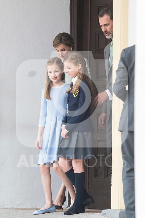 Queen Letizia, Princess Sofia, Princess Leonor and King Felipe VI during the First Communion of princess Sofia at Asuncion de Nuestra Senora Church in Madrid, May 17, 2017. Spain.<br /> (ALTERPHOTOS/BorjaB.Hojas)