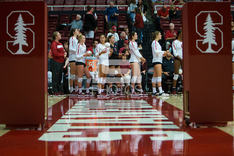 STANFORD, CA - October 12, 2018: Payton Chang, Audriana Fitzmorris, Kate Formico, Michaela Keefe, Morgan Hentz at Maples Pavilion. No. 2 Stanford Cardinal swept No. 21 Washington State Cougars, 25-15, 30-28, 25-12.