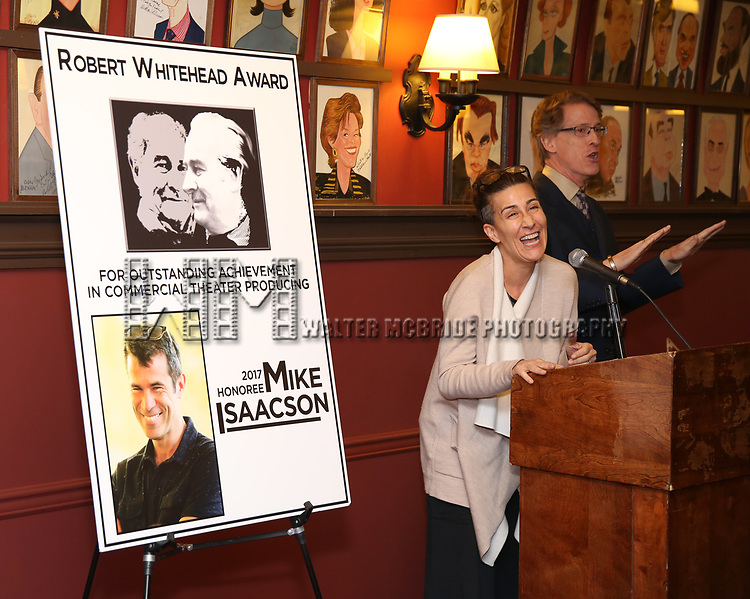 Jeanine Tesori and Dick Scanlan attends the The Robert Whitehead Award presented to Mike Isaacson at Sardi's on May 10, 2017 in New York City.