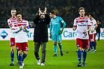 10.02.2018, Signal Iduna Park, Dortmund, GER, 1.FBL, Borussia Dortmund vs Hamburger SV, <br /> <br /> im Bild | picture shows:<br /> die Mannschaft des HSV auf dem Weg zu den Fans im G&auml;steblock, vl. Rick van Drongelen (Hamburger SV #4), Gotoku Sakai (Hamburger SV #24), Bernd Hollerbach (Trainer Hamburger SV) und Andr&eacute; Hahn (HSV #11), <br /> <br /> Foto &copy; nordphoto / Rauch
