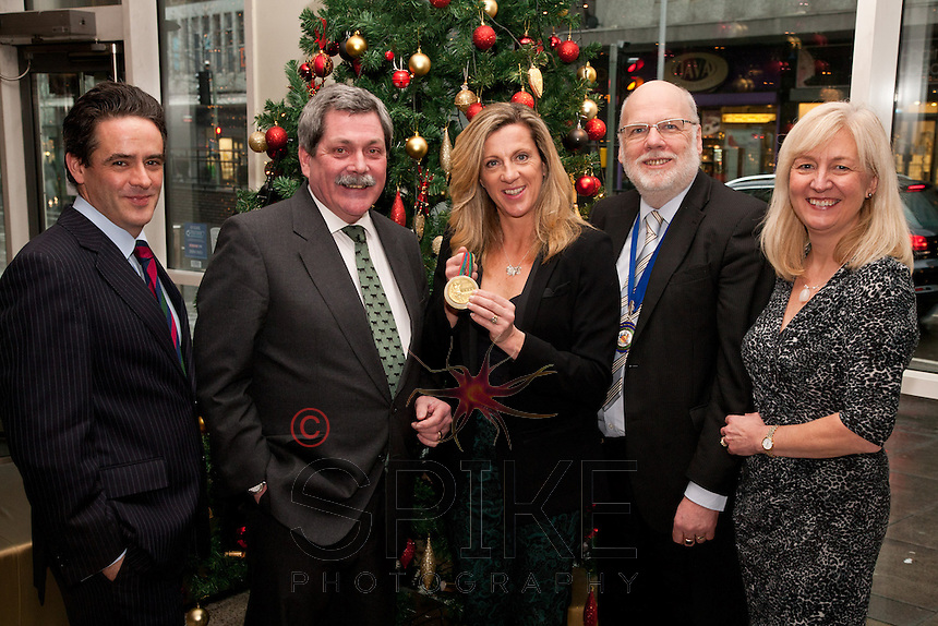 Sporting her Barcelona Gold Medal, Olympian Sally Gunnell meets Martin Rogers (second left) from club sponsors Mazars and NCBC President Steve Potts (second right)