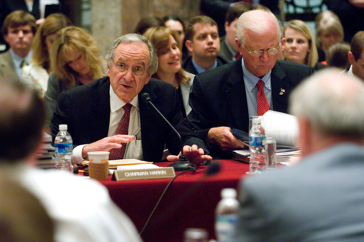 "WASHINGTON, DC - May 01: Senate Agriculture Chairman Tom Harkin, D-Iowa, and ranking member Saxby Chambliss, R-Ga., during the House-Senate conference on the farm bill. Lawmakers pushed ahead with a formal conference committee meeting Thursday on the farm bill even though several significant issues were unresolved. But despite the situation, Senate Agriculture Chairman Tom Harkin, D-Iowa, said he was confident the deal he brought to the full conference would be good enough. ""I hope we can get through this and put this puppy to bed,"" he said. (Photo by Scott J. Ferrell/Congressional Quarterly)"