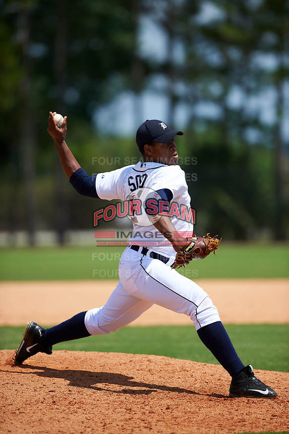 Detroit Tigers Gregory Soto (31) during a minor league Spring Training game against the Houston Astros on March 30, 2016 at Tigertown in Lakeland, Florida.  (Mike Janes/Four Seam Images)