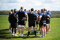 Bath Rugby first team coach Neal Hatley speaks to his players in a huddle. Bath Rugby training session on May 3, 2016 at Farleigh House in Bath, England. Photo by: Patrick Khachfe / Onside Images