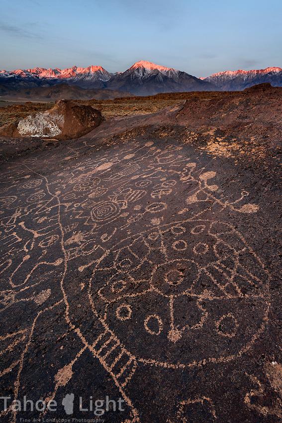 Sky Rock Petroglyphs in Owens Valley, CA.