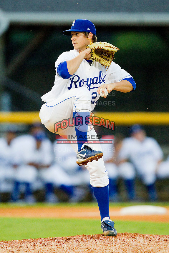 Burlington Royals starting pitcher Colin Rodgers #27 in action against the Bristol White Sox at Burlington Athletic Park on July 6, 2012 in Burlington, North Carolina.  The Royals defeated the White Sox 5-2.  (Brian Westerholt/Four Seam Images)