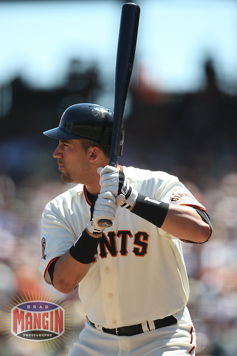 SAN FRANCISCO - AUGUST 24:  Travis Ishikawa of the San Francisco Giants bats during the game against the San Diego Padres at AT&T Park in San Francisco, California on August 24, 2008.  The Giants defeated the Padres 7-4.  Photo by Brad Mangin