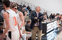 Brian Newhall, head men's basketball coach<br /> The Occidental College men's basketball team plays against Redlands University in Rush Gym on Feb. 20, 2018.<br /> (Photo by Marc Campos, Occidental College Photographer)