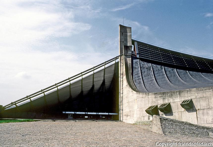 Tokyo: Yoyogi National Gymnasium  (2 Sports Halls)  built for Summer Olympics 1964.  Kenzo Tange. Photo '81.