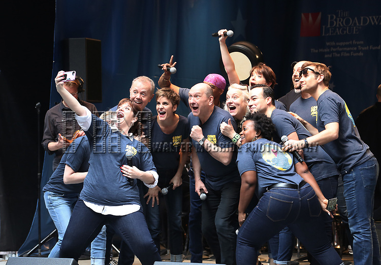 'Come From Away' cast on stage at United Airlines Presents #StarsInTheAlley free outdoor concert in Shubert Alley on 6/2/2017 in New York City.