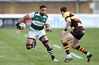 Andrew Durutalo of Ealing Trailfinders goes on the attack. Greene King IPA Championship match, between Richmond and Ealing Trailfinders on March 9, 2019 at the Richmond Athletic Ground in London, England. Photo by: Patrick Khachfe / Onside Images