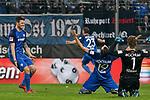 13.04.2018, Vonovia Ruhrstadion, Bochum, GER, 2.FBL, VfL Bochum vs 1. FC Kaiserslautern,, im Bild Tim Hoogland (#2, VfL Bochum) Patrick Fabian (#19, VfL Bochum) Manuel Riemann (#1, VfL Bochum) Jubel / Freude / Emotion / Torjubel / Torschuetze zum 2:0 Kevin Stoeger / St&ouml;ger (#22, VfL Bochum)   <br /> <br /> Foto &copy; nordphoto/Mauelshagen