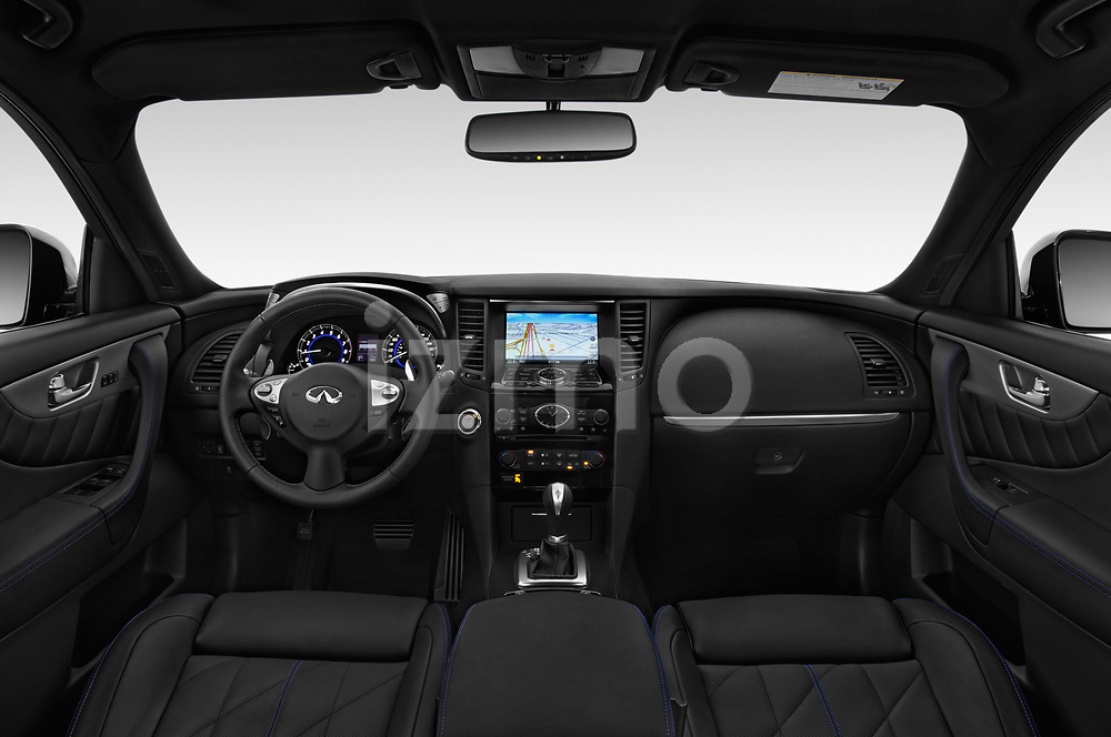 Stock photo of straight dashboard view of a 2018 Infiniti QX70 S 5 Door SUV