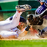 14 April 2018: Washington Nationals outfielder Bryce Harper slides home safely on a suicide bunt squeeze play by Michael A. Taylor (not pictured) in the 6th inning against the Colorado Rockies at Nationals Park in Washington, DC. The Nationals rallied to defeat the Rockies 6-2 in the 3rd game of their 4-game series. Mandatory Credit: Ed Wolfstein Photo *** RAW (NEF) Image File Available ***