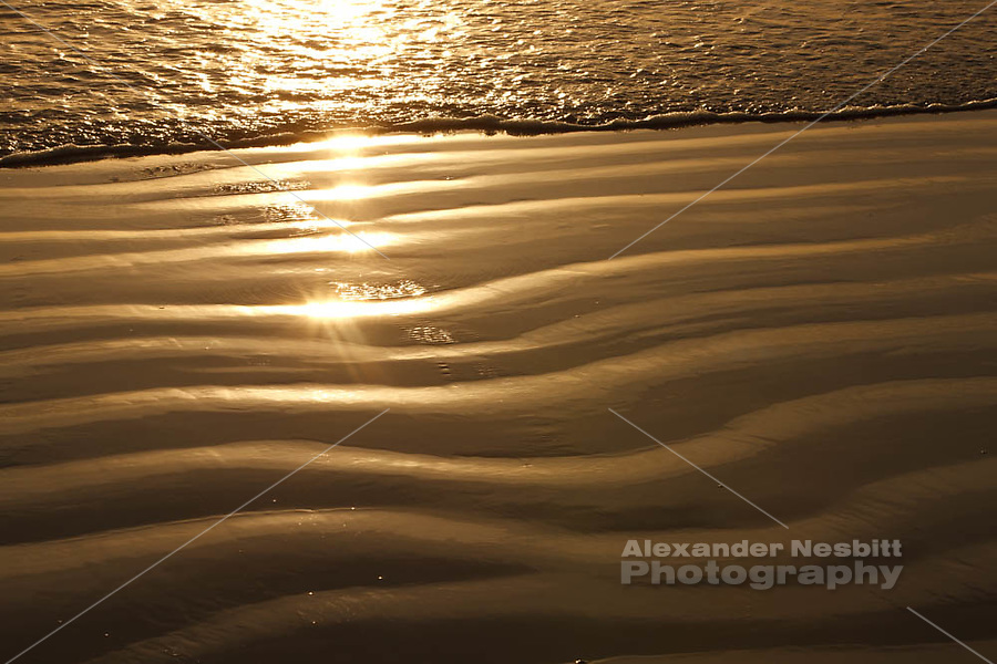 Newport, RI – Golden late afternoon light on perfect ripples in the sand of Sachuest or Second Beach.