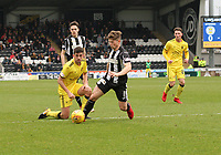 Cammy Smith gets the ball off Shaun Byrne in the St Mirren v Livingston Scottish Professional Football League Ladbrokes Championship match played at the Paisley 2021 Stadium, Paisley on 14.4.18.