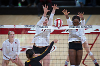 STANFORD, CA - November 15, 2017: Merete Lutz, Tami Alade, Jenna Gray at Maples Pavilion. The Stanford Cardinal defeated USC 3-0 to claim the Pac-12 conference title.